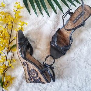 Bandolino Metallic Gray Cork Wedge Detail Sandals
